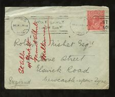 AUSTRALIA 1926 SOLO KG5 1 1/2d HEAD on COVER to NEWCASTLE on TYNE GB