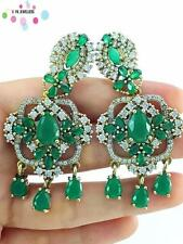 TURKISH 925 STERLING SILVER HANDMADE JEWELRY EMERALD EARRINGS E2506