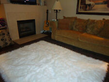 PURE WHITE Faux FUR area Rug 5' x 7' washable non-slip MADE IN USA
