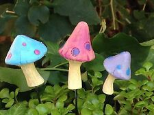 Miniature Dollhouse FAIRY GARDEN ~ GLOW in the DARK Mushroom Picks ~ Set of 3