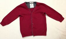 Toddler Boys Solid Red Zara Knitwear Button Up Cardigan 100% Cotton Size 2-3