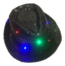 Flashing LED Sequin Black Bowler Hat - Red, Green, Blue - Fancy Dress Top Hat