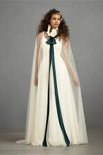 BHLDN Anthropologie Ivory CONSPICUOUS CAPE - tulle silk tie - NWOT - Retail $400