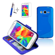 BLUE Wallet 4in1 Accessory Bundle Kit Case Cover Samsung Galaxy Core Prime LTE
