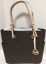 NEW Michael Kors Jet Set Travel Gold Brown Signature Medium TOTE Handbag $198