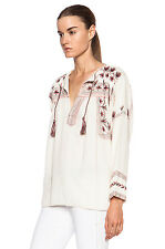 Isabel Marant Etoile Vicki Floral Embroidered Tassel Blouse Size 34 Cream