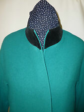 LADIES LAMPERT  PURE WOOL WITH VELVET TRIM ON COLLAR COAT SIZE 12   BRITISH MADE