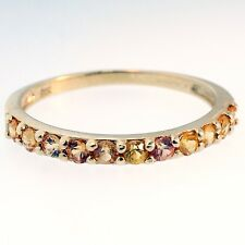 9ct Yellow Gold Citrine Half Eternity Ring (Size O 1/2) 2mm Wide