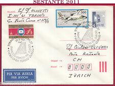 ITALIA FDC VIA AEREA ALITALIA DISPACCIO TORINO ZURIGO PIAGGIO 166 DL3 1987 Z770