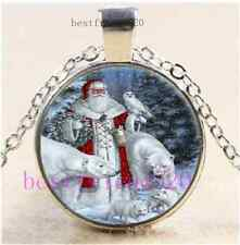 Father Christmas Photo Cabochon Glass Tibet Silver Chain Pendant Necklace#CK14