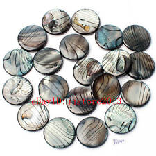 20mm Natural Banded Black Shell MOP Coin Shape Gemstone Loose Beads Strand 15""