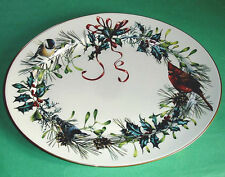 """Lenox Winter Greetings Large Oval Platter 16"""" Red Cardinal & Other Birds New"""