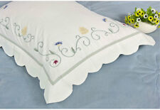 One Piece Dainty Flower Trail Embroidery Waffle Weave Border Cotton Pillowcase