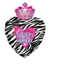 "Happy Birthday Zebra Princess Crown 30"" Balloon Birthday Party Decorations"