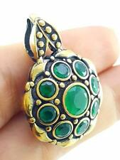 HANDMADE VICTORIAN JEWELRY 925 STERLING SILVER EMERALD TOPAZ PENDANT P1870