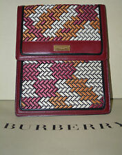 NWT BURBERRY $595 RAFFIA CHECK LEATHER TRIM TABLET iPAD SLEEVE COVER CASE ITALY