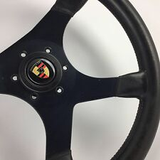 Momo 350mm leather steering wheel. Genuine. Porsche, 911, 944, 964. Classic 1981