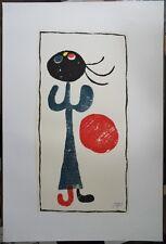 JOAN MIRO : PETITE FILLE AU BALLON ROUGE # LITHOGRAPHIE SIGNEE # 90*60cm # ARCHE