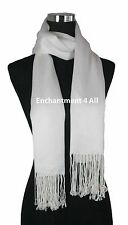 Handmade 100% 2-Ply Pashmina Cashmere Bridal Scarf Shawl Wrap XL Off White Solid