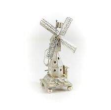 Jan Verhoogt Dutch .833 Silver Footed Miniature Windmill Figurine, c1887
