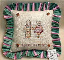 PILLOW handmade counted cross stitch on anne cloth TEDDY BEAR BEARY WELCOME new