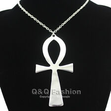 10x5cm Silver Egyptian Life Big Ankh Cross Pendant Long Chain Sweater Necklace