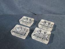 Ashtrays Pressed Glass Clear Small Rectangle Set of 4 Snacks Candies Nuts