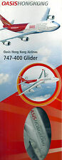 OASIS HONG KONG AIRLINES 747-400 GLIDER LENGTH 275mm WING SPAN 280mm BOX NEW 17j