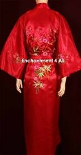 Embroidered Floral Design Silk Satin Kimono Robe Sleepwear Long Waist Tie, Red