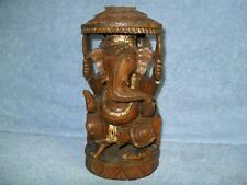 GANESH Ganesha Hindu God Handcrafted Wooden Elephant Figurine Sculpture