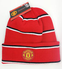 MANCHESTER UNITED FC SOCCER BLACK/RED/WHITE BEANIE SKULLY (ONE SIZE) -- NEW