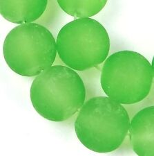 25 Frosted Sea Glass Round / Rocaille Beads Matte - Peridot Green 10mm