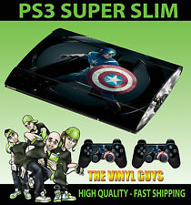 PLAYSTATION PS3 SUPER SLIM CAPTAIN AMERICA 001 AVENGER SKIN STICKER & 2 PAD SKIN