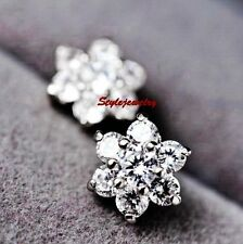 White Gold 925 Sterling Silver Clear Zirconia Wedding Flower Stud Earring IE107