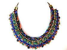 LADIES BRIGHT BOLD MULTI LAYER COLORFUL STATEMENT CHOKER UNIQUE STUNNING (ST66)
