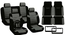 Black/Gray PU Leather Seat Covers Tribal Floor Mats License Plate Frames CS10
