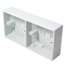35mm DOUBLE DUAL PLASTIC SURFACE MOUNT BACK BOX -TWIN 2 GANG WALL PATTRESS UK