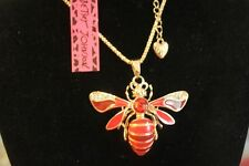 "Wild Life Betsey Johnson 28"" Chain,GT Red Enamel Clear Crystal Bee Necklace"