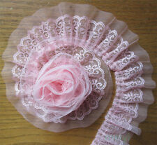 1 yd Vintage Pink Pleated Organza Lace Edge Trim Gathered Wedding Ribbon Sewing