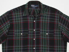 Vtg Mens Polo Ralph Lauren L/S Rayon Wool  Blend Two Pocketed Plaid Medium MINT