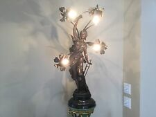 Antique Art Nouveau Victorian Spelter French Figural Newel Post Lamp 34""
