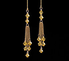 *CKstella*  Lt. Gold Topaz Tassel Crystal 14K Gold gf Thread Threader Earrings