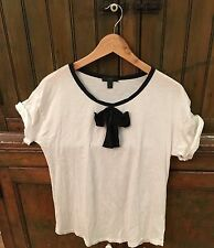 J.Crew ROLL-SLEEVE T-SHIRT WITH BOW White Women's (M)