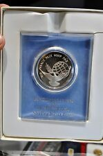 United Nations Sterling Silver 1972 Peace Medal w/Box, Stand and Paperwork Nice!