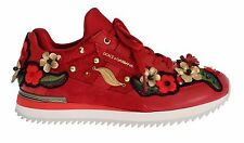 NWT $1100 DOLCE & GABBANA Red Leather Roses Crystal Sneakers Shoes EU35/ US5