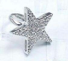 1x Party Women Alloy Big crystal star adjustable silver Ring with GIFT BOX P127s