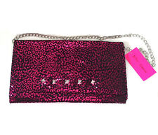 Betsey Johnson metallic pink leopard print clutch punk envelope shoulder purse