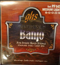 GHS PROFESSIONAL FIVE STRING BANJO STRINGS, STAINLESS STEEL, LOOP END (SET PF145