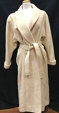 Ashley Scott Butter Ivory Long Dress Coat Sz M or L? Wool Lined Double Breasted