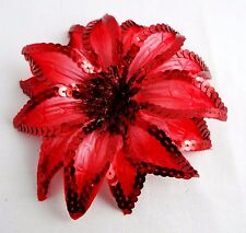 Red sequin flower hair clip ponytail band pin dancer 6 inches wide